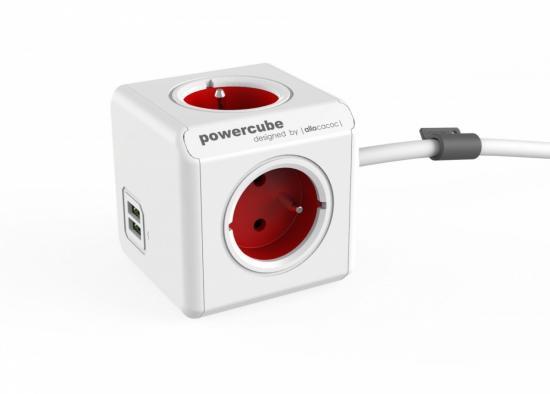 Listwa zasilająca PowerCube Extended USB 1,5m 2402RD/FREUPC Czerwona