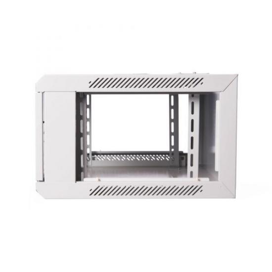 Szafa wisząca jednosekcyjna 19 4U 279/600/450mm, drzwi szklane, szara (RAL 7035), zmontowana