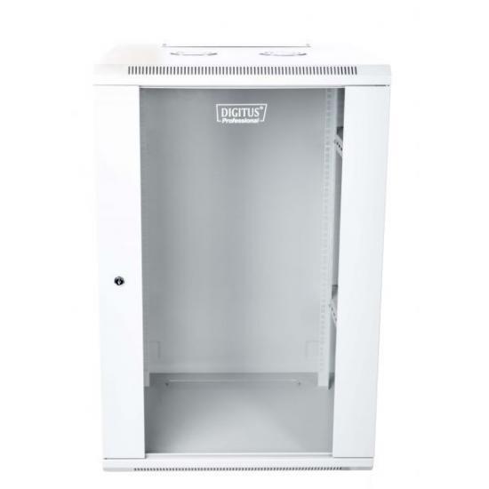 Szafa wisząca jednosekcyjna 19 18U 901/600/600mm, drzwi szklane, szara (RAL 7035), zmontowana