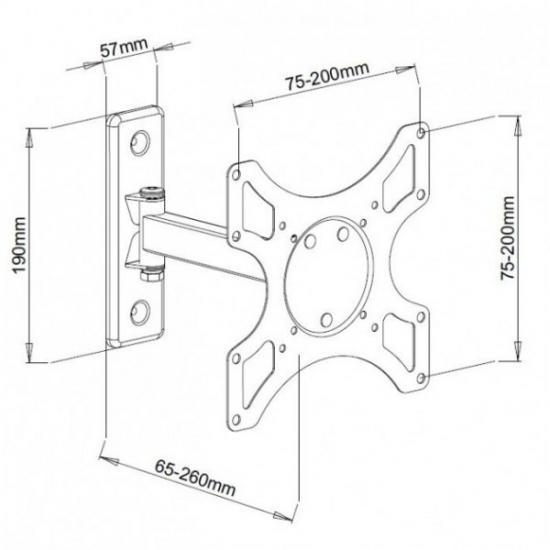 Uchwyt ścienny LCD/LED 19-37cali czarny, 25kg