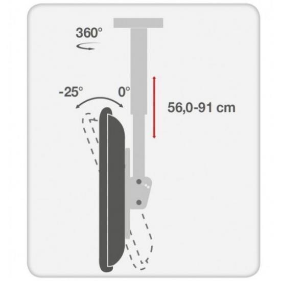 Uchwyt sufitowy LCD/LED 32-55cali czarny, 50kg