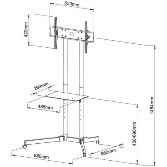 Stojak mobilny LCD/LED 30-65cali,60kg, regulowany
