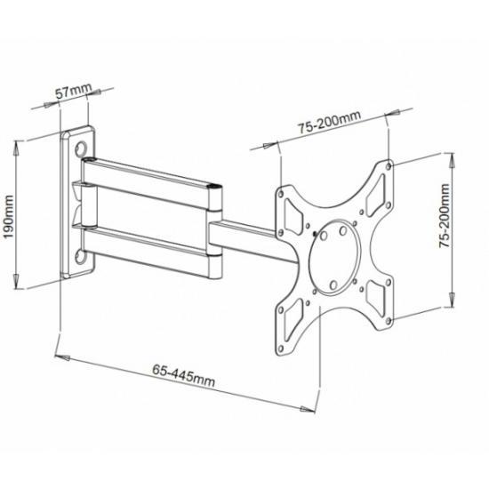 Uchwyt ścienny LCD/LED 19-37cali, podwójne ramię, regulowany, biały