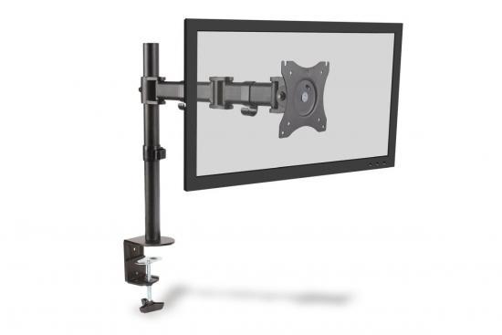 Stojak biurkowy pojedycz z zaciskiem, 1xLCD, max. 27, max. 8kg, uchylno-obrotowy 360 (PIVOT)