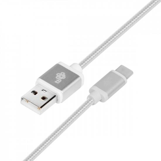 Kabel USB-USB C 1.5m srebrny sznurek