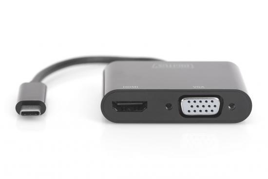 Adapter graficzny HDMI/ VGA 4K 30Hz UHD/ FHD na USB 3.1 Typ C, z audio, czarny, aluminiowy