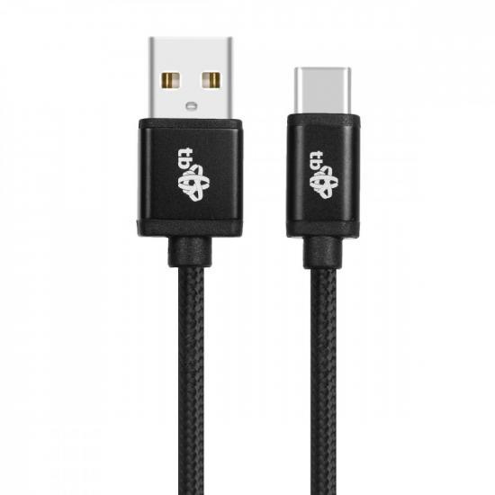 Kabel USB-USB C 1.5m czarny sznurek