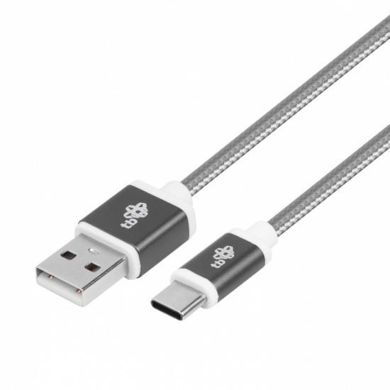 Kabel USB-USB C 1.5m szary sznurek