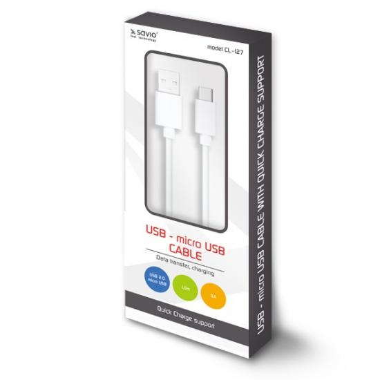 Kabel USB - micro USB Quick Charge, 5A, 1m SAVIO CL-127