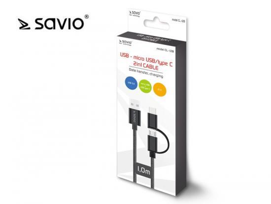 Kabel USB 2w1 USB typ C/micro, 2.1A, 1m SAVIO CL-128