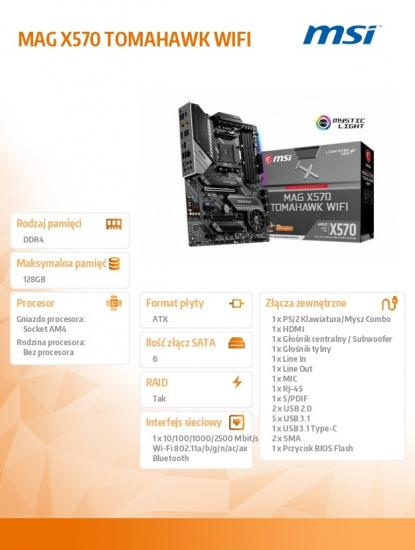Płyta główna MAG X570 TOMAHAWK WIFI AM4 4DDR4 HDMI M.2 ATX