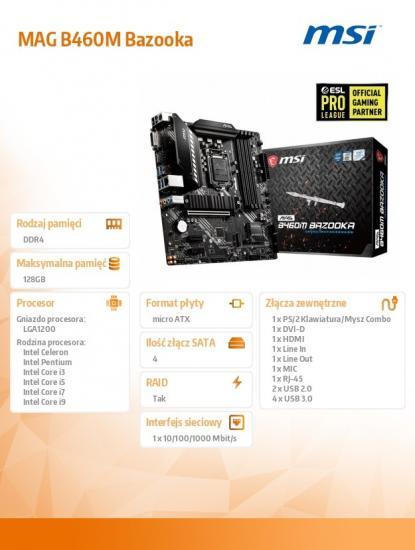 Plyta główna MAG B460M BAZOOKA s1200 4DDR4 M.2 HDMI/DVI mATX