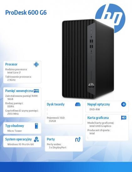 Komputer ProDesk 600 G6 MT i7-10700 512/16/DVD/W10P 272X6EA