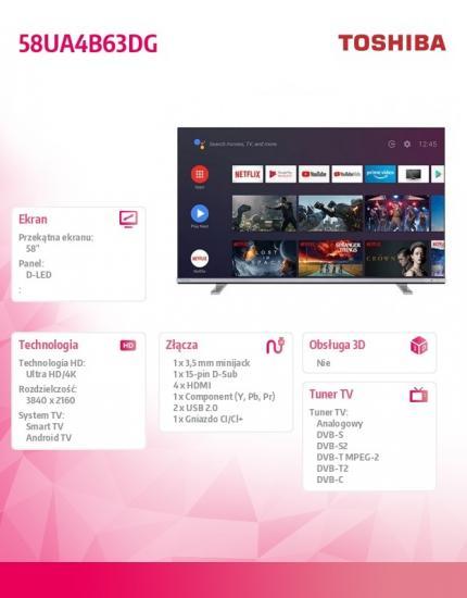 Toshiba Telewizor LED 58 cali 58UA4B63DG